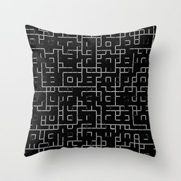 Maze - Black and white, abstract, maze pattern Throw Pillow