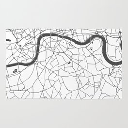 London White on Gray Street Map Rug