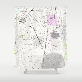 Abstract White with light pastel geometrical pattern Shower Curtain