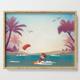 Kite surfer Woman Theme Serving Tray