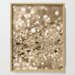 Champagne Gold Lady Glitter #1 #shiny #decor #art #society6 Serving Tray