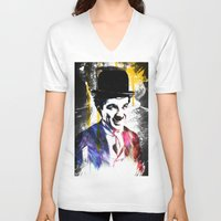 charlie chaplin V-neck T-shirts featuring charlie chaplin by manish mansinh