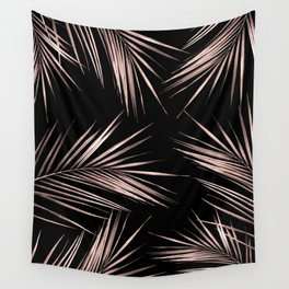 Rosegold Palm Tree Leaves on Midnight Black Wall Tapestry