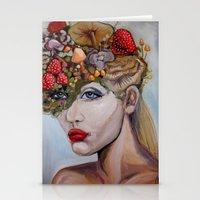 alice wonderland Stationery Cards featuring Wonderland by HeatherIRELANDArtz