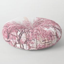 New York City - Central Park - Cherry Blossoms Floor Pillow