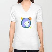manga V-neck T-shirts featuring manga girl_9. by fernk