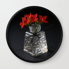 Red Succulent Blossoms Wall Clock