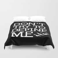 divergent Duvet Covers featuring Don't Try to Define Me - Black (Divergent) by All Things M