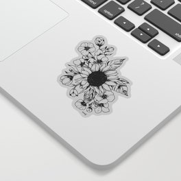 Bouquet of Flowers with Sunflower / Fall floral lineart Sticker