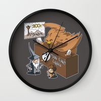 middle earth Wall Clocks featuring Middle Earth Travels by souldroid