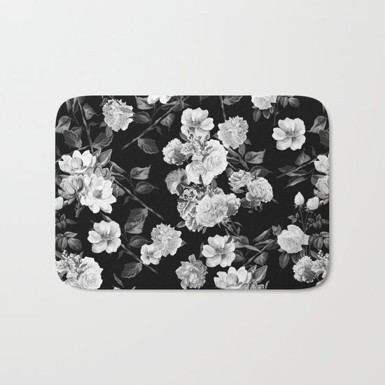 Black and White Botanic Pattern Bath Mat