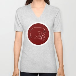Relaxing Cat in claret circle Unisex V-Neck