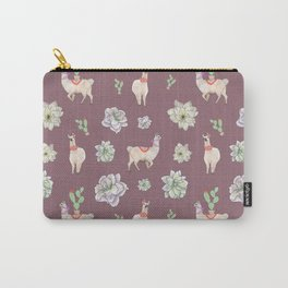 Cute Llamas with Flowers and Cacti (taupe theme) Carry-All Pouch