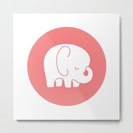 Mod Baby Elephant Coral Metal Print