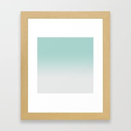 Ombre Duchess Teal and White Smoke Framed Art Print