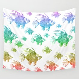A School of Rainbow Fish Wall Tapestry