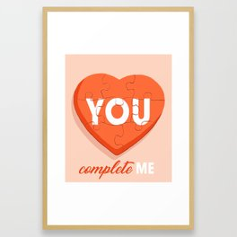 You Complete Me - Puzzle Heart Framed Art Print