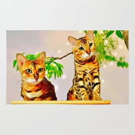 The Bengal Cat Couple Rug
