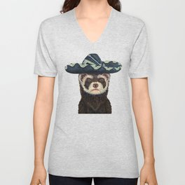 Ferret Fiesta White Background Unisex V-Neck