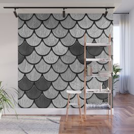 Dragon Scales with Black Outline Wall Mural