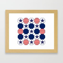 Nautical Patriotic Hexagons Framed Art Print