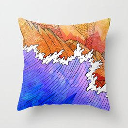 As the waves hit the sandy cliffs Throw Pillow