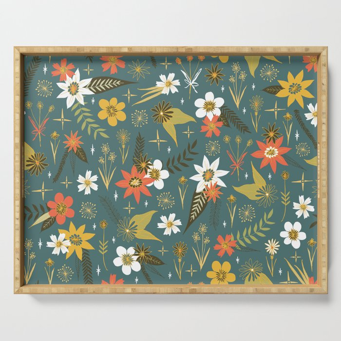 bright fun floral pattern Serving Tray