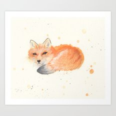 Fox revisited in Watercolor Art Print