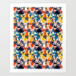 Rabbit colored pattern no2 Art Print