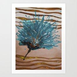 Turquoise golden flower Art Print