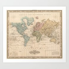 Vintage Map of The World (1823) 2 Art Print