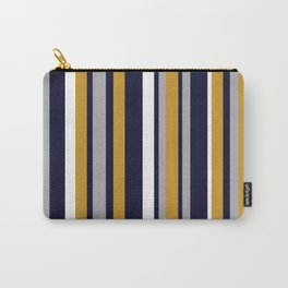 Modern Stripes in Mustard Yellow, Navy Blue, Gray, and White. Minimalist Color Block Carry-All Pouch