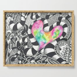 Watercolor Heart with Black and White Doodles Serving Tray