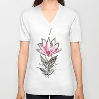 lotus V-neck T-shirts featuring Lotus by Himadri Pachori