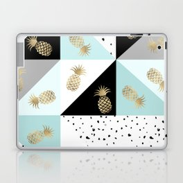 Pastel color block watercolor dots faux gold pineapple Laptop & iPad Skin