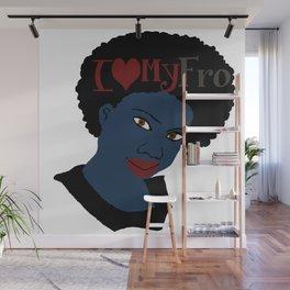 I Love My AFro Blue Hair WordArt Natural Hair Wall Mural