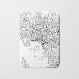 Oslo White Map Bath Mat