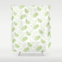 Hand painted mint green floral cactus tropical leaves typo Shower Curtain