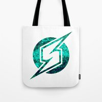 metroid Tote Bags featuring Metroid Logo by Bradley Bailey