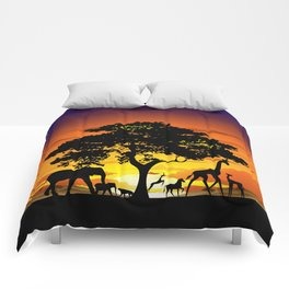 Wild Animals on African Savanna Sunset Comforters