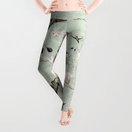 Vintage Watercolor hummingbird and Magnolia Flowers on mint Background Leggings