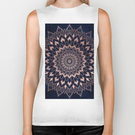 Boho rose gold floral mandala on navy blue watercolor Biker Tank