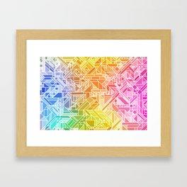Bright Gradient (Hot Pink Orange Green Yellow Blue) Geometric Pattern Print Framed Art Print