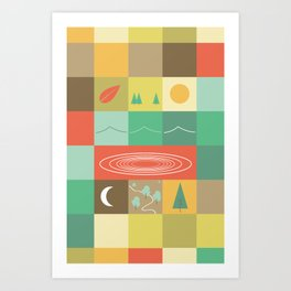 Patchwork Mapwork Art Print