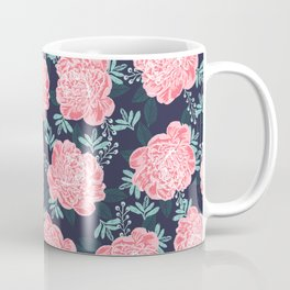 Peony Flowers navy pink and white modern colors for office home or college dorm decor Coffee Mug
