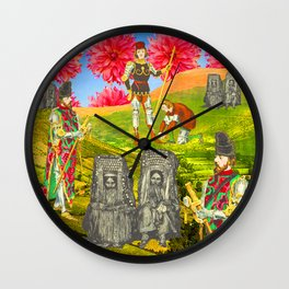 THE COLORFUL KNIGHT AND THE SEPIA BEGGARS Wall Clock