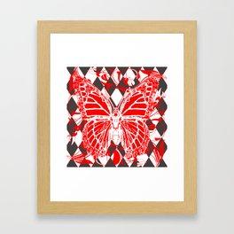 DECORATIVE RED & WHITE HARLEQUIN  PATTERN Framed Art Print