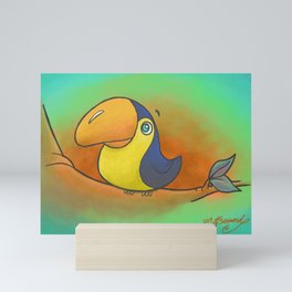Baby Bird Smiling in the Jungle! Mini Art Print