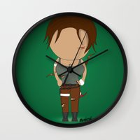 lara croft Wall Clocks featuring Minimalist lara croft by Monkey graphisme