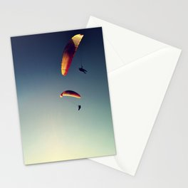 two paragliders from above Stationery Cards